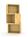 Wooden boxes. Isolated 3D Royalty Free Stock Photo