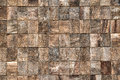 Wooden bricks texture with decorative woodgrain background small equilateral square in parallel rows natural pattern Stock Image