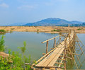 Wooden bridge across mekong river thailand Royalty Free Stock Photos