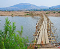 Wooden bridge across mekong river thailand Royalty Free Stock Image