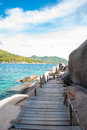 The wooden bridge at a beautiful beach on sunny day koh nangyuan thailand Stock Photography