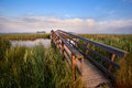 Wooden bridge for bicycles over river in morning sunlight Stock Images