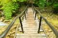 The wooden bridge through fast mountain small river Stock Image
