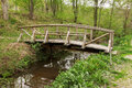 Wooden bridge in the forest green Royalty Free Stock Images