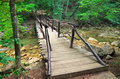Wooden bridge in the forest at river Stock Images