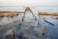 Wooden bridge in frozen lake Royalty Free Stock Photo