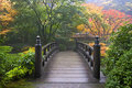 Wooden Bridge at Japanese Garden in Fall Royalty Free Stock Photo