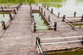 Wooden bridge on the lake Royalty Free Stock Photography