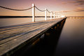 Wooden bridge narrabeen during golden hour winter period in sydney australia Royalty Free Stock Images