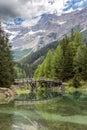 Wooden bridge over lake obernberg in the austrian alps Stock Images