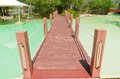 Wooden bridge over the pool swimming Royalty Free Stock Photo