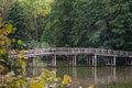 Wooden bridge over the river in summer park Royalty Free Stock Photo