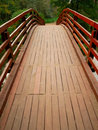 Wooden bridge perspective Royalty Free Stock Photos