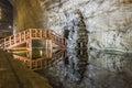 Wooden bridge reflexion in underground salt mine Royalty Free Stock Photo
