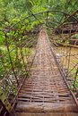 Wooden bridge tad pha souam southern laos Royalty Free Stock Photography