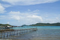 Wooden bridge to the sea thailand Royalty Free Stock Photos