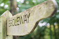 Wooden Bridleway signpost in English countryside Royalty Free Stock Photo
