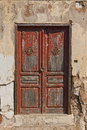 Wooden brown old door of greek island Royalty Free Stock Photo