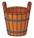 Wooden bucket cartoon empty rural Royalty Free Stock Image
