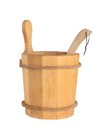 Wooden bucket with ladle for the sauna isolated on white background Royalty Free Stock Images