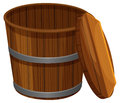 Wooden bucket with lid
