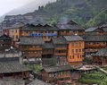 Wooden building rural hotels in Chinese village of ethnic minori Royalty Free Stock Photo