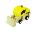 Wooden Bulldozer Toy isolated on white background Royalty Free Stock Photo