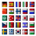 Wooden buttons, flags Royalty Free Stock Photo