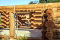 Wooden cabin construction Royalty Free Stock Photo