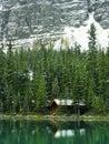 Wooden cabin at lake o hara yoho national park canada british columbia Royalty Free Stock Photos