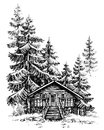 A wooden cabin in the pine forest Royalty Free Stock Photo