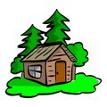 Wooden cabin in the woods vector illustration sketch hand drawn