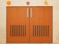 Wooden cabinet doors and handles Stock Photos