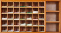 Wooden cabinet in interior of a Buddhist temple Royalty Free Stock Photo
