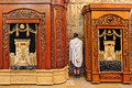 Wooden cabinets with torah at western wall jerusalem august prayer in cave synagogue between two scrolls located in the cave which Royalty Free Stock Images