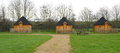 Wooden cabins at camping site in lee valley park london Stock Photography