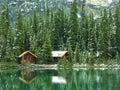 Wooden cabins at lake o hara yoho national park canada british columbia Stock Images