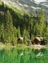 Wooden cabins at lake o hara yoho national park canada british columbia Royalty Free Stock Image