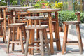 Wooden cafe seats Royalty Free Stock Photo