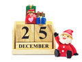 Wooden Calendar 25 DECEMBER with Christmas and New Year Decorate