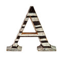Wooden capital a letter isolated over white Stock Photos