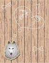 Wooden card with devoted dog Royalty Free Stock Photo