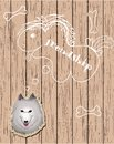 Wooden card with dog dreaming about friends Stock Images