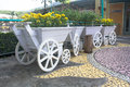 Wooden cart with flowers yellow Royalty Free Stock Photo