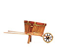 Wooden cart standing isolated on white background Royalty Free Stock Images