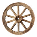 Wooden cartwheel old isolated on white Royalty Free Stock Photo