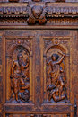 Wooden carved door close-up Stock Photo
