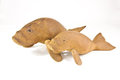 Wooden carved dugong handmade in thailand Stock Images