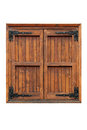 Wooden casement window with shutters closed external side of a isolated Stock Image