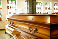 Wooden casket Stock Images
